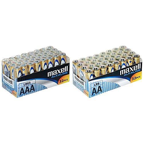 Maxell LR03 - Pilas AAA, 32 unidades + Maxell LR6 - Pilas AA, 32 unidades, color dorado