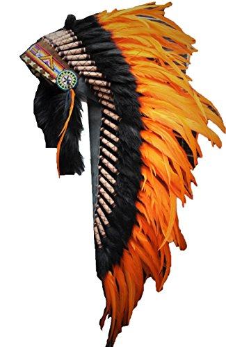 KARMABCN Y10 - Medium Orange Headdress with Black Fur, Native American Style warbonnet