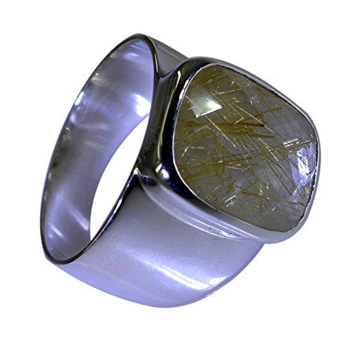 Jewelryonclick Rechteck Form natürliche Rutilquarz Ring 925 Sterling Silber Lünette Einstellung Größen S