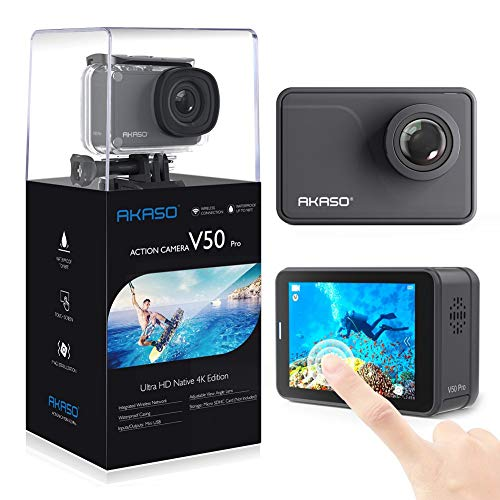 AKASO V50 Pro Native 4K30fps 20MP WiFi Action Camera with EIS Touch Screen 100 feet Waterproof Camera Web Camera Support External Mic Remote Control Sports Camera with Helmet Accessories Kit (Renewed)