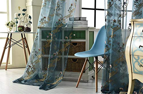fgdsa Blue Sheer Curtains Pencil Pleat,Blackout Privacy Embroidered Semi Sheer Curtains for Bedroom(1 Curtain) A 350x270cm(138x106inch)