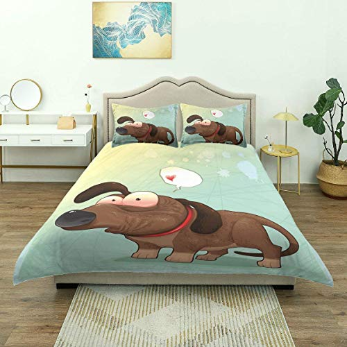 Yaoni Duvet Cover,Puppy in Love Werner Dog Romance Confusion Humor Caricature Style Pet Graphi, Bedding Set Comfy Lightweight Microfiber