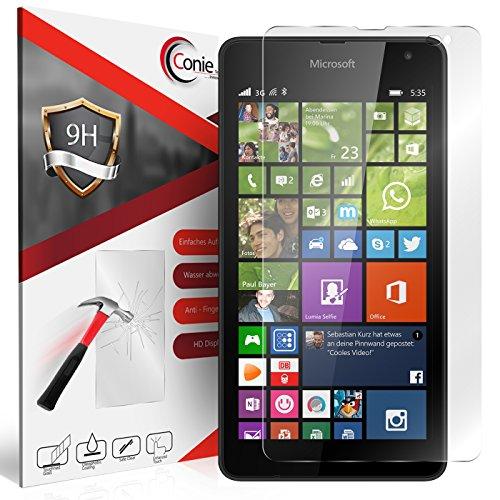 Conie 9H1958 9H Panzerfolie Kompatibel mit Microsoft Lumia 535, Panzerglas Glasfolie 9H Anti Öl Anti Fingerprint Schutzfolie für Lumia 535 Folie HD Clear