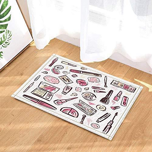 Xuelizhou Damesmode cosmetica op witte achtergrond roze lippenstift oogschaduw bruin borstel badkamerdeurmat antislip bodem indoor veranda pad kinderen 40 x 60 cm accessoires
