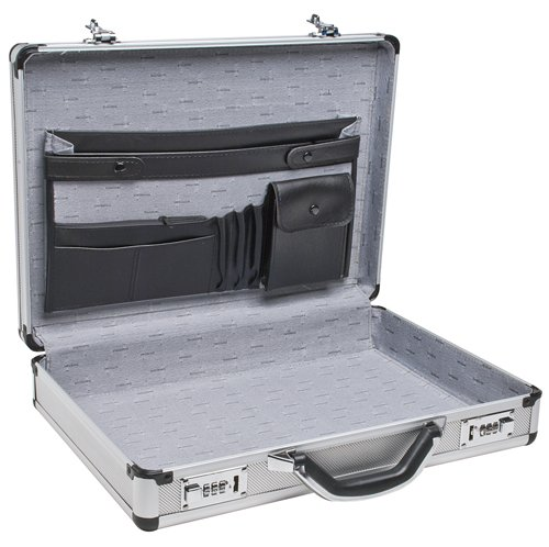 "RoadPro SPC-931R 17.5"" x 4"" x 13"" Silver Aluminum Briefcase,Medium"