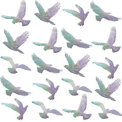 Boao 20 Stück Anti-Kollision Warnen Aufkleber Warnen Vogel Fenster Haftet Verhindern Menschen und Vogelschlägen auf Fenster Glas, 5 Stilen