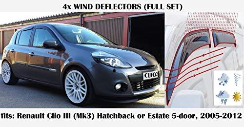 Wind Deflectors Renault Clio 3 Doors 9//05