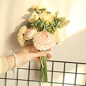 ke&z Artificial Flowers, Fake Ranunculus asiaticus Flower,Hydrangea Bouquet Decor Plastic,Realistic Flower Arrangements Wedding Decoration Table Centerpieces