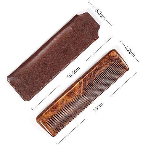 YMZ Peigne de soin pour homme en bois de santal + sac à cheveux mixte grossier peigne à barbe