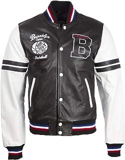 Aviatrix Men's Real Leather Bomber Varsity Basketball Fashion Jacket (6VA6)
