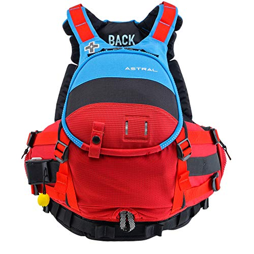 Astral GreenJacket Life Jacket PFD for Whitewater Rescue, Sea, and Stand Up Paddle Boarding, Blue Black Red, M/L