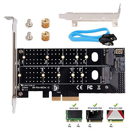 QNINE Dual M.2 NVME Adapter, NVME PCIE Adapter M Key oder M.2 SATA SSD B Key 22110 2280 2260 2242 2230 für PCIe 3.0 x4 Hostcontroller mit Low Profile Bracket für PC Desktop