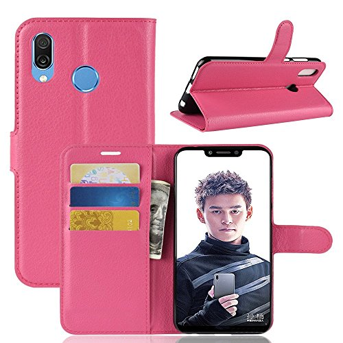 EYYC Huawei Honor Play Custodia, SMTR Huawei Honor Play Wallet Case Cover Leather Flip Cover Magnetic Closing Anti-Shock Function with Stand (Rosa Rossa)