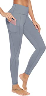 AUU High Waist Workout Leggings with Pockets Gym Tights Comfy 4 Way Stretch Yoga Pants and Capris