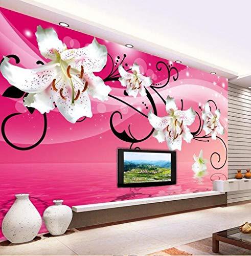 3D-Fototapete Wasserreflexion Lilie Blume Hintergrund Wand dekorative Malerei 150cmx105cm (59.1x41.3inch) Benutzerdefinierte Wandplakat Wohnzimmer Schlafzimmer Dekoration Malerei