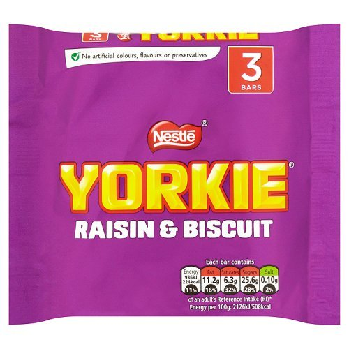 Yorkie Raisin and Biscuit Chocolate, 3x44g