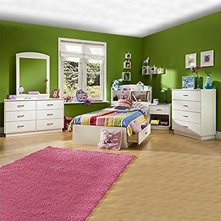 South Shore Logik Kids Wood White Captainu0027s Bed 5 Piece Bedroom Set