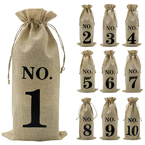 Katigan 10Pcs Jute Wine Bags, 14 x 6 1/4 Inches Hessian Numbered Wine Bottle Gift Bags with Drawstring for Blind Wine Tasting (Brown)