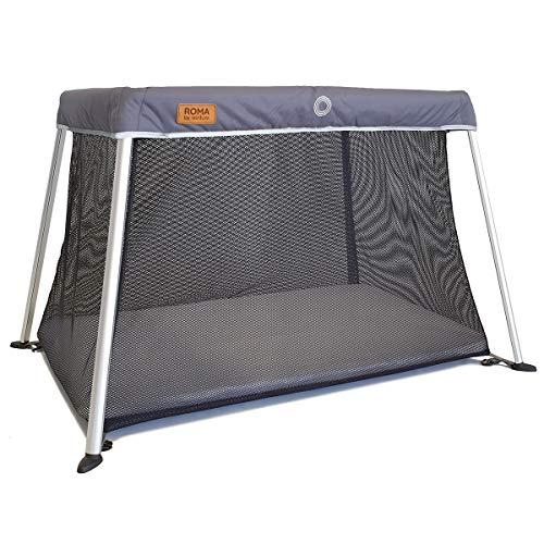 Le lit bébé de voyage Venture Roma comprend un matelas en mousse et un sac de transport de 100 x 60 cm (Gris))