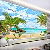 Xbwy 装飾壁画居間の寝室の装飾のための海景のココナッツの木の砂浜の壁画の壁紙-280X200Cm