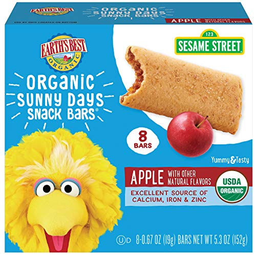 Earth's Best Organic Sesame Street Sunny Day Toddler Snack Bars with Cereal Crust, Apple, 8 Count Box (Pack of 6)