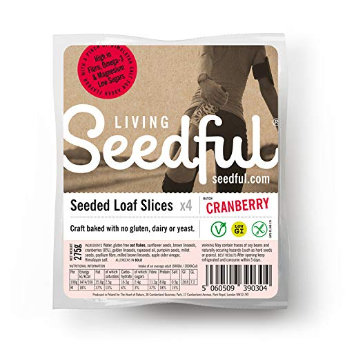7 x 275g SEEDFUL Loaf Slices with Cranberries ( 4 Slices Each ), Wellbeing, Gluten Free, Wheat Free, Vegan, Vegetarian, Seeded Bread, Fiber, Protein, Magnesium