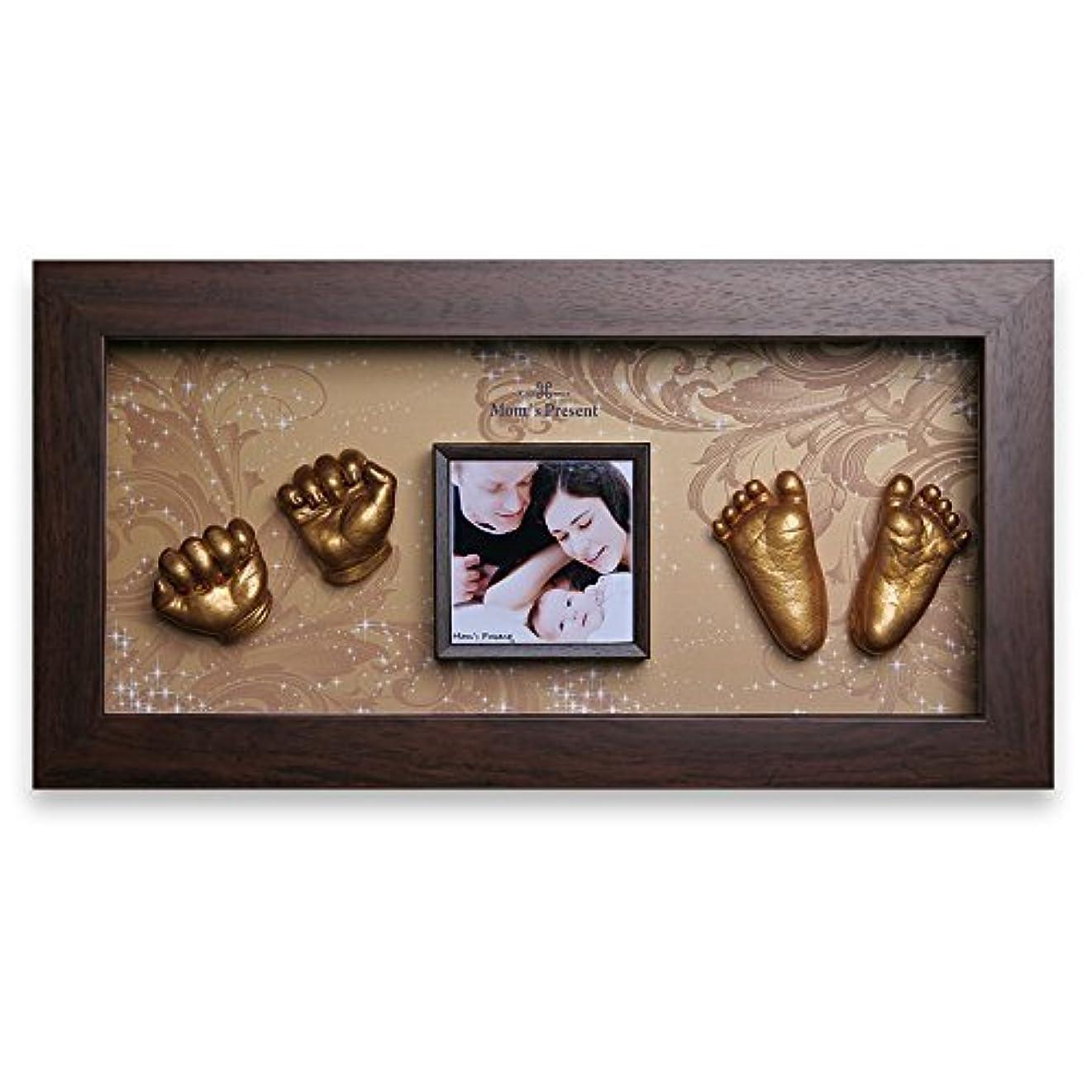 の間に偽善者アジテーションMoms Present 赤ちゃんの手と足 WALNUT FRAMEで3DプリントDIYキットをキャスティング(PW-2-黄金の中庭) [並行輸入品]