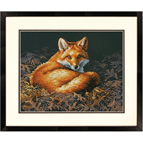 DIMENSIONS Sunlit Fox Counted Cross Stitch Kit, 14 Count Black Aida, 14