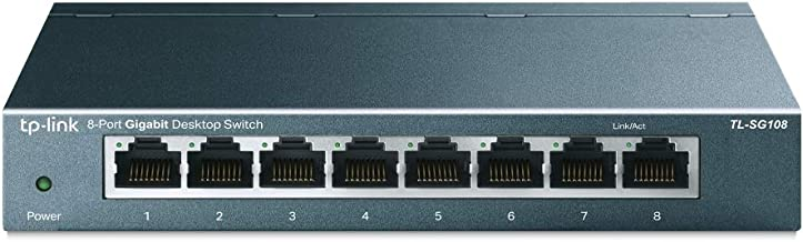 TP-Link TL-SG108 | 8 Port Gigabit Unmanaged Ethernet Network Switch, Ethernet Splitter | Plug & Play | Fanless Metal Desig...