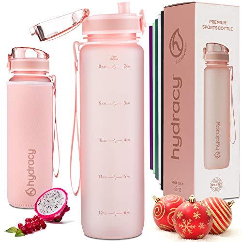 Hydracy Botella de Agua 1 Litro con Marcador de Tiempo - Sin BPA con Filtro de Infusion de Frutas - Antigoteo y sin Sudor - Ideal para el Ejercicio y los Deportes al Aire Libre - Rosa Gold
