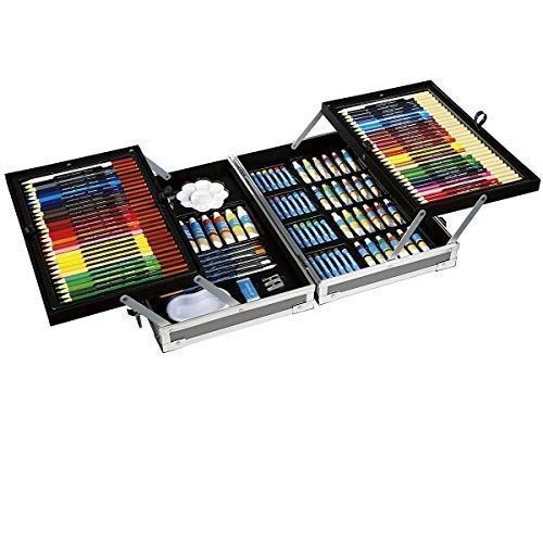 Artist's Loft All-Media Art Set in Aluminum Case, 126 Pieces – All-in-One Art Set Kit Includes Art Supplies for Drawing, Painting and More