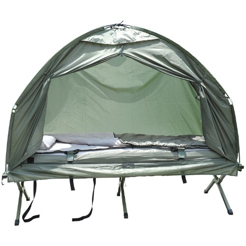 Outsunny 1 person Foldable Camping Tent w/Sleeping Bag Air Mattress Outdoor Hiking Picnic Bed cot w/Foot Pump