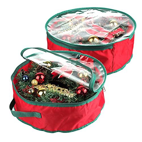 Marooma Bolsa de almacenamiento para coronas de Navidad, contenedor de guirnaldas con ventana transparente bolsa de uso diario para decoraciones de fiestas de vacaciones