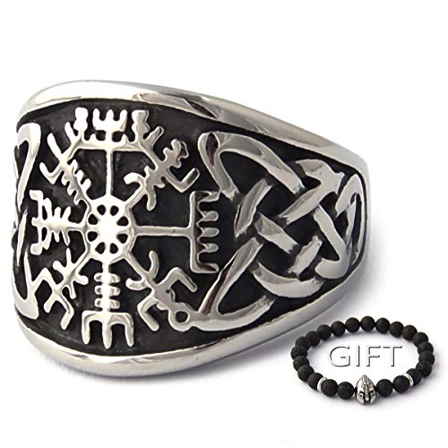 ENXICO Vegvisir Runic Compass Ring with Celtic Knot Pattern 316L Stainless Steel Irish Celtic Jewelry (11)