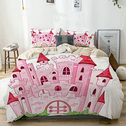 LKCDNG JIOLK Juego de Ropa de Cama 3 Piezas Microfibra,Princesa Castle Cute Fairy Tale Princesa Magic Kingdom Cartoon Ilustración,1 Funda Nórdica y 2 Funda de Almohada (Cama 140x200)