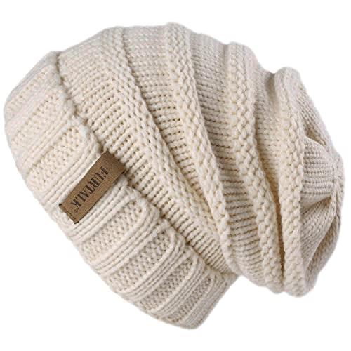 FURTALK Gestrickte Winter Slouchy Beanie Mütze Oversized Unisex Crochet Cable Ski Cap Baggy Slouch Hüte für Frauen Männer, Beige, Einheitsgröße
