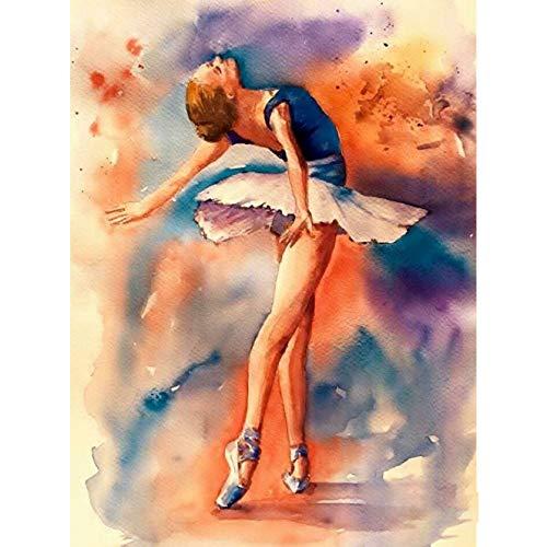 Bimkole 5d Diamond Painting Kit Bricolaje Arte Bailarina, Pintura De Arte De Belleza De Ballet Pintura Diamantes Kits Estampados De Punto De Cruz Diamantes de Imitación Decoración de Pared, (30x40 cm)