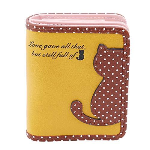 Winwinfly Frauen Cat Dot Printed Geldbörse Kurze Geldbörse Taschen PU Handtaschen Kartenhalter, Gelb