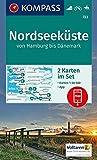 KOMPASS Wanderkarte Nordseeküste von Hamburg bis Dänemark: 2 Wanderkarten 1:50000 im Set inklusive Karte zur offline Verwendung in der KOMPASS-App. ... Reiten.: 2-delige Wandelkaart 1:50 000
