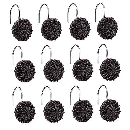 MagiDeal 12pcs Crochet de Rideau de Douche en Résine Forme en Fleur Rond Rétro pour Voilage Store Chambre Salle de Bain