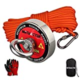 Mutuactor Fishing Magnets 400lbs Pull Force,Strong Retrieval Magnet N52 Neodymium Magnets with 20m(66Feet) Durable Rope,Powerful Magnets for Fishing and Magnetic Recovery Salvage
