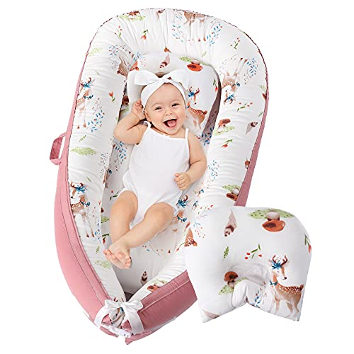 Uaugh Baby Lounger Sleeper Nest with Pillow,100% Breathable Soft Cotton Co-Sleeping Nest Bed for Newborn,Portable Reversible Adjustable for Crib Bassinet, Ideal Baby Gifts Essential (Pink)