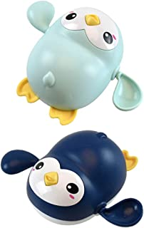 simhoa 2Pcs Wind Up Swimming Animal Penguin Toddler Bathtub Paddling Toy for Baby