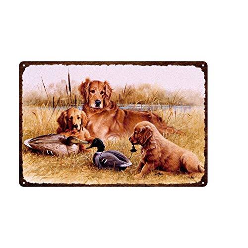 Aya611 Plaque Iron Painting Harmony Dog Family Kennel Retro Fading-resistant Door Front Decorative Plaque Tin Paint Metal Tin Sign 20cmx30cm 6