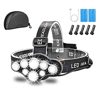 Lampe Frontale,Super Brillante Lampe à 8 Del de 18000 Lumens,Rechargeable USB Imperméable réglable pour Le Camping, la Pêche, la Cave, Le Jogging et la Randonnée