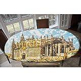 Mantel de poliéster elástico gótico para mesa, diseño gótico, con vistas a Palma de Mallorca desde la carretera, rectangular y ovalado, para mesas de hasta 122 cm de ancho x 172 cm de largo.