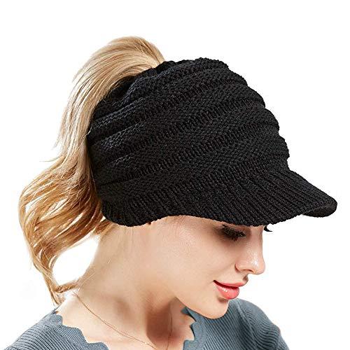 SWEDREAM Winter Strickmütze Schirmmütze Wintermütze Beanie Mütze Hüte Mützen Caps für Damen Gestrickte Baseballmütze Pferdeschwanz Mütze mit Zöpfen Loch (Schwarz)