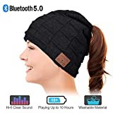 WINONLY Bluetooth Beanie Hat, Warm Gifts for Women with Ponytails Design Bluetooth Hat, Upgrade Bluetooth 5.0 Winter Knitting Beanie Cap, Wireless Hat Built-in Microphone Hand-Free Calling (Black)