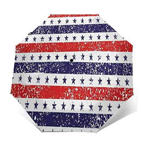 Windproof Travel Folding Umbrella Automatic 4th July Stars Stripes, Large Rain Folding Compact Umbrella Portable Fast Drying with Auto Open Close Button