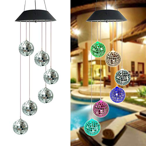 LINGBUSINESS Solar Wind Chimes Outdoor Color Changing Waterproof Wind Mobile Bell Spiral Spinner Crystal Ball Indoor Outdoor Decor Yard Garden Patio Home Party Festival Decorative Light, Disco Ball